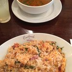 Minestrone soup and chicken risotto.