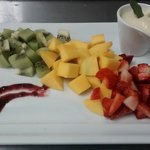 Frutas com creme de baunilha