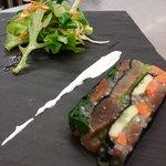 pressé de bonite , crevettes rosesau wasabi!!!