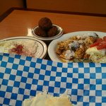 Babaghanouje, Falafel, Chicken and Rice Plate