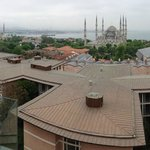 Panoramic view of Istanbul from the restaurant -- with the building blocking lower level views.