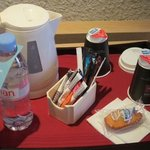 a water bottle is offered, and all you need to make tea (or nescafe) in your room