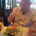 enjoying a prawn cocktail
