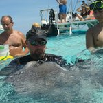 Captain with a stingray eating fish! :-)