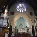 Pulpit and stained glass rose window