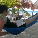 Reading a book in a hammock on the beach