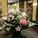 Lobby fresh flowers are beautiful
