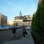 view of PNC park from back entrance of Hyatt Place
