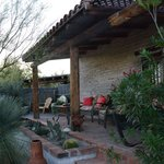 The covered back porch of the Casita