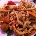 broiled shrimp, fried clams and sweet potatoe fries