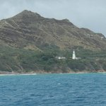 A view of Diamond Head and Lighthouse from Makani catamaran