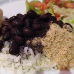 Black beans, rice and yucca to compliment my dinner