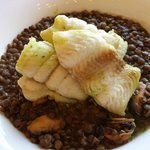 fillet of sole pan seared then baked with lentils & mussels – 20euros