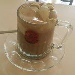 Dark hot chocolate with hazelnut ice-cream