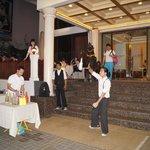 Juggling at Hotel's entrance