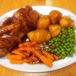 enjoy a full half roast chicken dinner