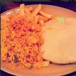Lemon and Herb Chicken Pitta, Spicy Rice & Chips.