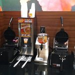 Waffle station at breakfast.