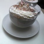 Hot chocolate with cream.