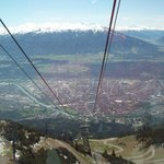 Innsbruck from cable car going to summit of Hafelekar