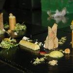 Foie gras Erbse Apfel