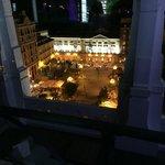 Plaza Santa Ana at night, from the hotel's rooftop bar