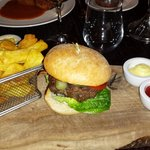 Burger and triple cooked chips