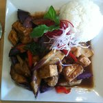 Eggplant with tofu in a spicy black bean sauce