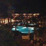 View over the outdoor swimming pools at night