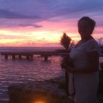 sunset of my wife from our bungalow