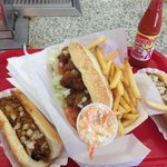 Famous Chili Dog, Oyster Po'Boy and Fries!