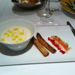 asparagus soup with truffle oil and white asparagus