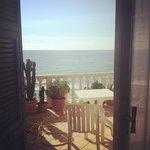 panorama, camera, balcone, mare, spiaggia