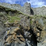 On Fenella Beach looking up at the Castle walls.