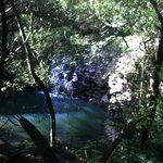 The first water fall on this 15 min hike! Taken from above but u can walk down to this area and