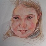 Girl of 5 years old  in color pencils