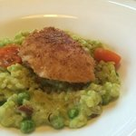 Chicken breast cordon bleu with peas risotto.  Chicken breast dry as always, risotto decent