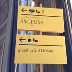 signs for the restaurant, easily spotted in the palace