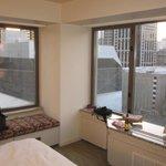 Wide view of corner suite.