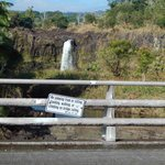 Wai'ale Falls Sign from bridge - That just about covers it!