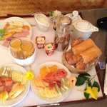 Continental breakfast delivered to our bungalow.