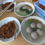 2 sets of noodles with respective meatball soup... SANG NYUK Noodles