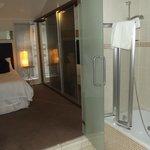 Bedroom glass doors to ensuite