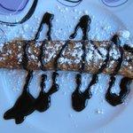 Dessert from the dinner menu. Chocolate pancake roll.