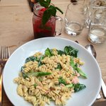 Smoked salmon pasta dish is amazing and their strawberry mojitos are the best I've ever had
