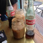 Espressoda with 2 shots and cream served with Mexican bottle of Coke...a shot to your senses!