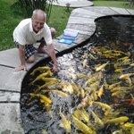my husband feeding the fishes, there were a lot of them