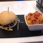 Lamb Burger and Rice