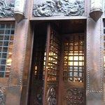 The restored copper door