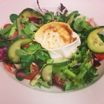 Goats' cheese salad with cherry tomatoes, cucumber, mixed leaves, spring onions, toasted pine nu